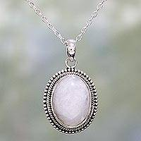 Rainbow moonstone pendant necklace, 'Misty Ropes' - Rainbow Moonstone and Sterling Silver Necklace from India