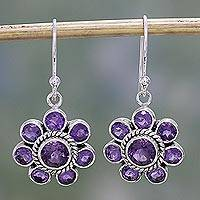 Amethyst dangle earrings, 'Morning Glitter in Purple' - Amethyst and Sterling Silver Dangle Earrings from India