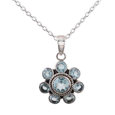 Blue Topaz and Sterling Silver Pendant Necklace from India