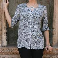 Silk blouse, 'Black Garden' - Handmade Silk Button-Up Blouse with Floral Motif from India