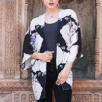 Silk jacket, 'Blossoming Flower' - Black and White Open Front Floral Caftan from India