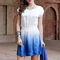 Silk minidress, 'Fade to Blue' - White and Blue Ombre All Silk Minidress from India