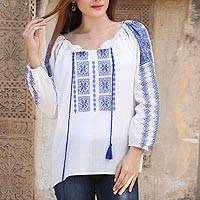 Embroidered cotton tunic, 'Eternal Love' - Blue and White 100% Cotton Moroccan Embroidered Tunic