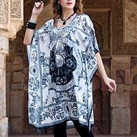 Chiffon caftan, 'Urban Chic' - Black and White Sequined Polyester Caftan from India