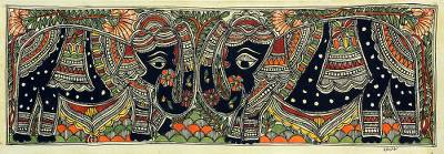 Signed Elephant Madhubani Folk Painting by an Indian Artist