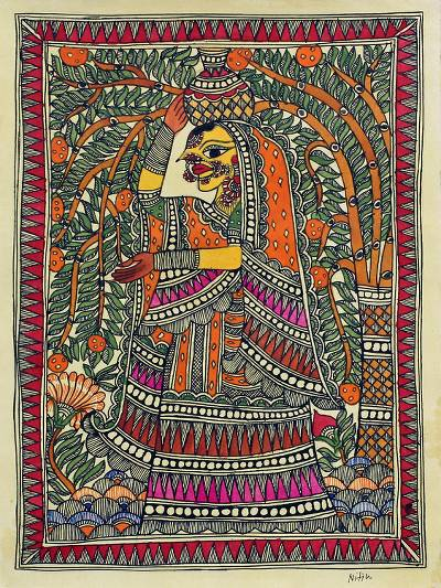 Signed Madhubani Folk Painting of a Woman from India