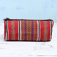 Cotton cosmetic case, 'Scintillating Desire in Red' - Hand Woven 100% Cotton Multicolor Cosmetic Case from India