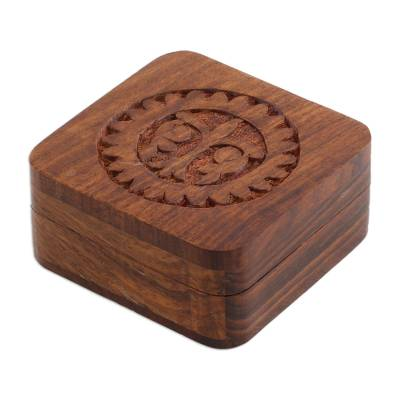 Mango wood decorative box, 'Magnificent Sun' - Hand Carved Mango Wood Decorative Box from India