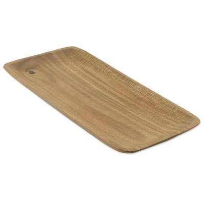 Handcrafted Rectangular Acacia Wood Tray from Thailand