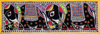 Signed Indian Madhubani Painting of Royal Mughal Elephants