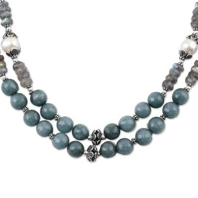 Multi Gemstone Double Strand Necklace from India