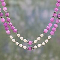 Cultured pearl and aventurine strand necklace, 'Pretty Pearls' - Pink Aventurine and Cultured Pearl Strand Necklace