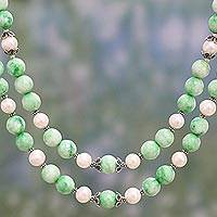 Aventurine and cultured pearl strand necklace, 'Verdant Bliss' - Green Aventurine and Cultured Pearl Double Strand Necklace