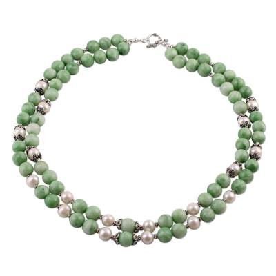 Green Aventurine and Cultured Pearl Double Strand Necklace