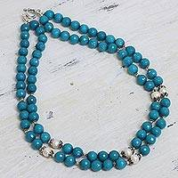 Aventurine and cultured pearl beaded necklace, 'Ocean Radiance' - Blue Aventurine and Cultured Pearl Beaded Necklace