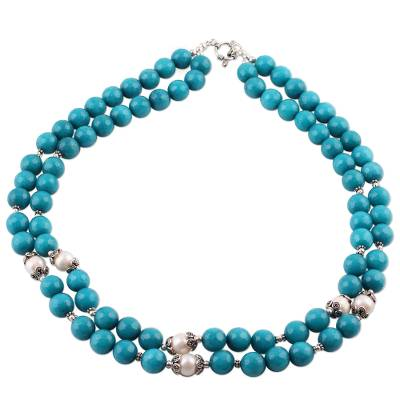 Blue Aventurine and Cultured Pearl Beaded Necklace