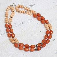 Aventurine strand necklace, 'Sweet Freedom' - Orange Aventurine Double Strand Necklace from India