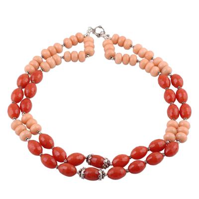 Orange Aventurine Double Strand Necklace from India