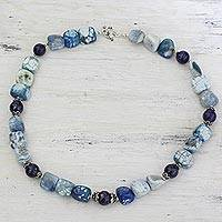 Lapis lazuli and agate beaded necklace, 'Beauty and Grace' - Lapis Lazuli and Blue Agate Beaded Necklace from India