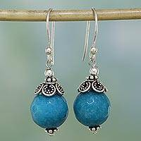 Aventurine dangle earrings, 'Sweet Blue Exuberance' - Blue Aventurine and Sterling Silver Dangle Earrings