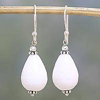 Agate dangle earrings, 'Pure Wonder' - Sterling Silver and White Agate Dangle Earrings from India