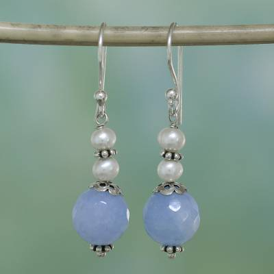 Aventurine and cultured pearl dangle earrings, 'Glorious Day' - Blue Aventurine and Cultured Pearl Dangle Earrings