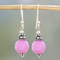 Aventurine dangle earrings, 'Delightful Pink' - Pink Aventurine and Sterling Silver Dangle Earrings