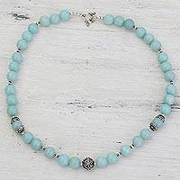 Aventurine beaded necklace, 'Morning Dance' - Aqua Aventurine and Sterling Silver Beaded Necklace