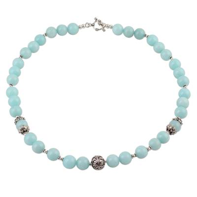 Aqua Aventurine and Sterling Silver Beaded Necklace