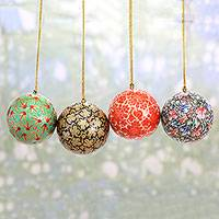 Papier mache ornaments, 'Alluring Baubles' (set of 4) - Set of Four Round Colorful Papier Mache Ornaments from India