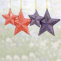 Papier mache ornaments, 'Starry Delight' (set of 4) - Four Blue and Red Papier Mache Star Ornaments from India