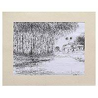 'Rural Landscape' - Signed Ink Freestyle Painting by an Indian Artist