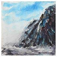 'Elements of Nature' - Signed Indian Impressionist Painting of Seaside Mountains
