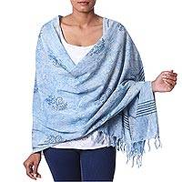 Cotton shawl, 'Azure Attraction' - India Dabu Hand Block Printed Cotton Shawl in Azure Blue