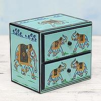 Wood mini chest of drawers Exuberant Elephants India