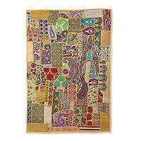 Patchwork wall hanging, 'Kaleidoscope Attraction' - Recycled Patchwork Floral Wall Hanging in Gold from India