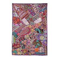 Patchwork wall hanging, 'Flower Party' - Multicolored Recycled Patchwork Floral Wall Hanging