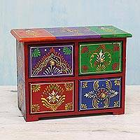 Wood jewelry box Lucid Rainbow India
