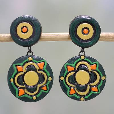 Ceramic dangle earrings, 'Green Festivity' - Floral Ceramic Dangle Earrings in Green by Indian Artisans