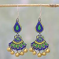 Ceramic dangle earrings, 'Royal Rainfall' - Blue and Green Ceramic Dangle Earrings by Indian Artisans