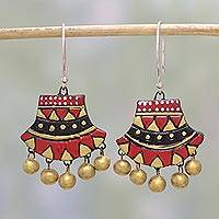 Ceramic dangle earrings, 'Midnight Royalty' - Ceramic Dangle Earrings in Red and Black from India
