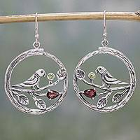 Garnet and peridot dangle earrings, 'Parrot Song' - Garnet and Peridot Parrot Dangle Earrings from India