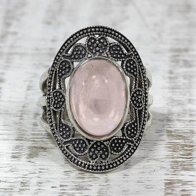 Rose Quartz Paisley Motif Cocktail Ring from India