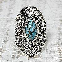 Sterling silver cocktail ring, 'Jali Eye' - Sterling Silver and Composite Turquoise Indian Cocktail Ring