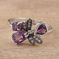 Amethyst cocktail ring, 'Wisteria Butterfly' - Amethyst Butterfly Cocktail Ring by Indian Artisans