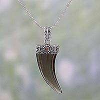 Smoky quartz and carnelian pendant necklace, 'Smoky Tusk' - Smoky Quartz and Carnelian Pendant Necklace from India
