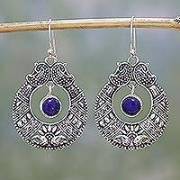 Lapis lazuli dangle earrings, 'Paisley Blue' - Lapis Lazuli and Sterling Silver Dangle Earrings from India