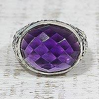 Amethyst cocktail ring, 'Lilac Glimmer' - Amethyst and Sterling Silver Cocktail Ring from India