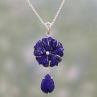 Lapis lazuli pendant necklace, 'Bursting Blossoms' - Artisan Crafted Silver 925 and Lapis Lazuli Flower Necklace