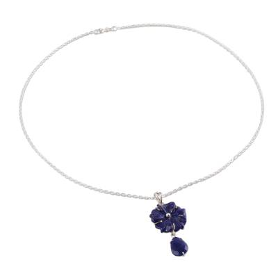 Artisan Crafted Silver 925 and Lapis Lazuli Flower Necklace